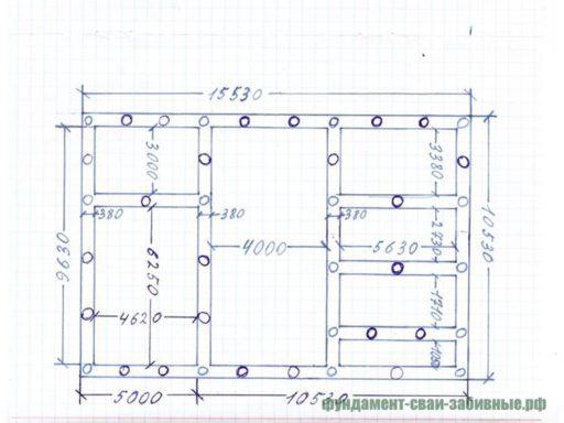 От руки нарисованный фундамент дома
