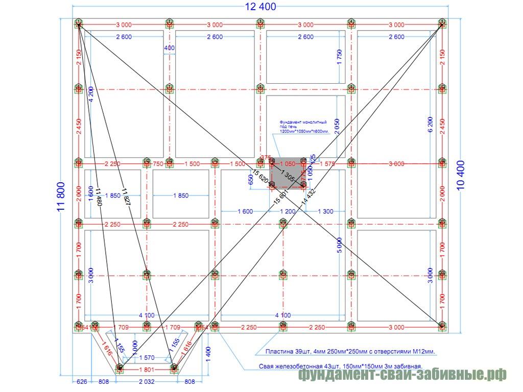 Пример свайного поля для фундамента на железобетонных сваях под дом из бруса